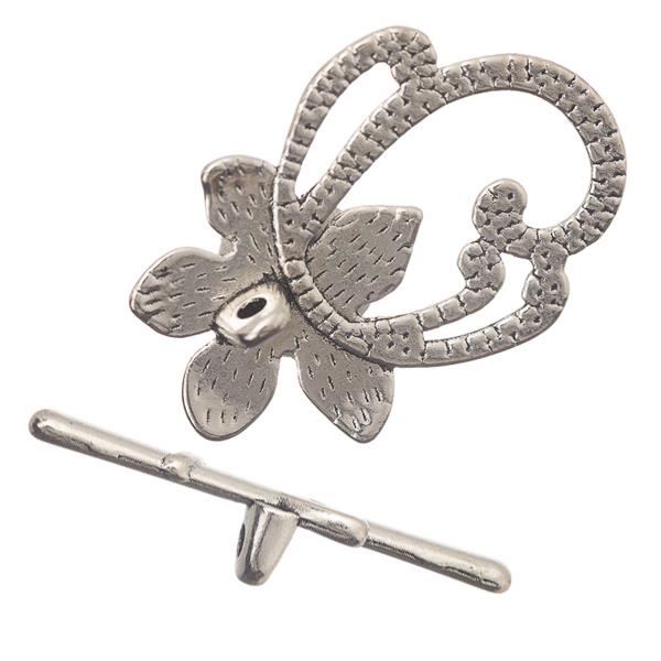20x28mm Antique Silver Flower Vine Toggle Clasp 10/pk