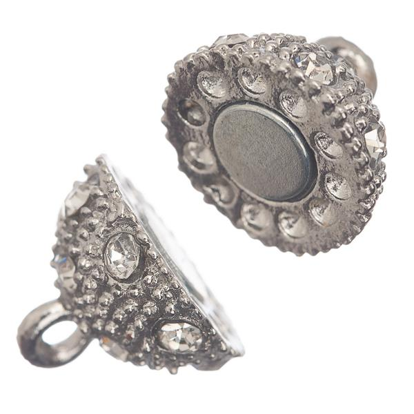 8mm Nickel Rhinestone Magnetic Clasp 1/pk