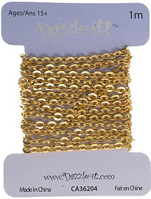 2x2.5mm Brass Rolo Chain 1m