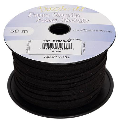 Faux Suede Black Lacing 50m
