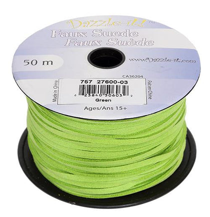 Faux Suede Green Lacing 50m