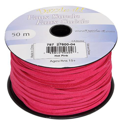 Faux Suede Hot Pink Lacing 50m