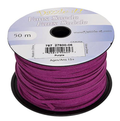 Faux Suede Purple Lacing 50m