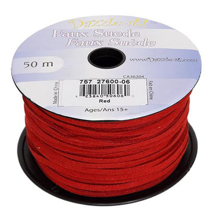 Faux Suede Red Lacing 50m