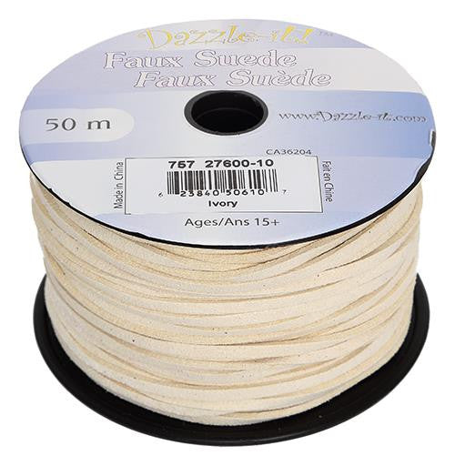 Faux Suede Ivory Lacing 50m
