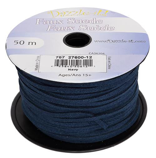Faux Suede Navy Lacing 50m