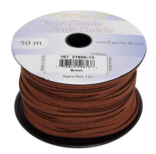 Faux Suede Brown Lacing 50m