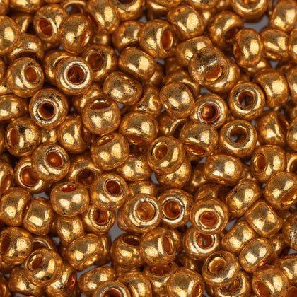 8/0 Czech Seed Beads Metallic Gold 22g