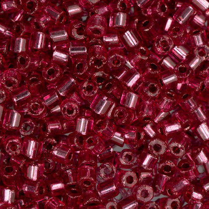 10/0 Czech 2 Cut Seed Beads Silver Lined Light Red 22g