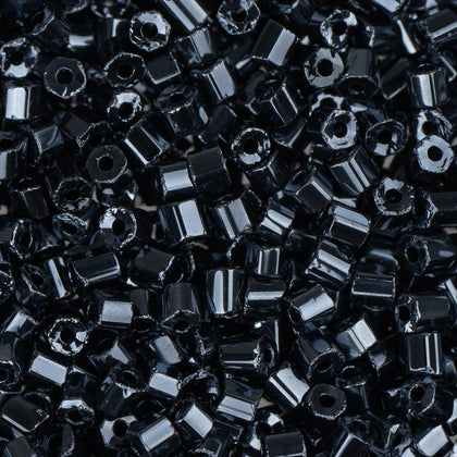 10/0 Czech 2 Cut Seed Beads Metallic Gunmetal 22g