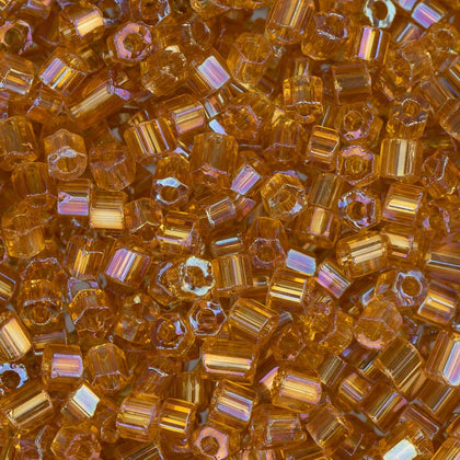 10/0 Czech 2 Cut Seed Beads Transparent Topaz AB 22g