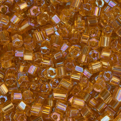 10/0 Czech 2 Cut Seed Beads Transparent Topaz AB 22g - i-Bead,  TOPAZ