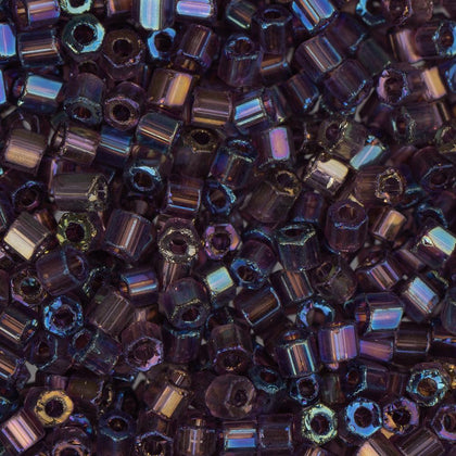 10/0 Czech 2 Cut Seed Beads Transparent Dark Purple AB 22g