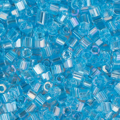 10/0 Czech 2 Cut Seed Beads Transparent Light Aqua AB 22g