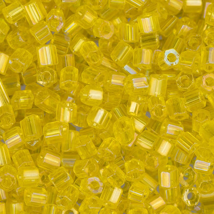 10/0 Czech 2 Cut Seed Beads Transparent Yellow AB 22g