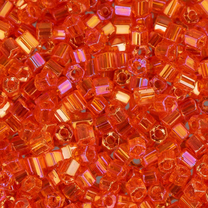 10/0 Czech 2 Cut Seed Beads Transparent Orange AB 22g
