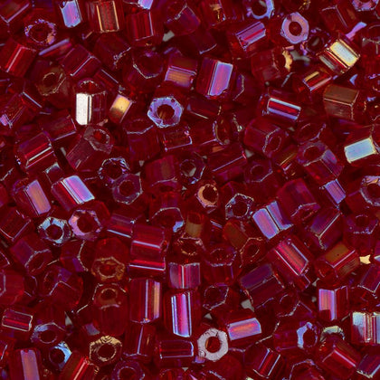 10/0 Czech 2 Cut Seed Beads Transparent Red AB 22g