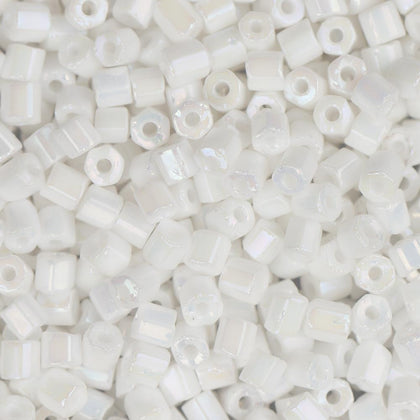 10/0 Czech 2 Cut Seed Beads Opaque White Rainbow 22g