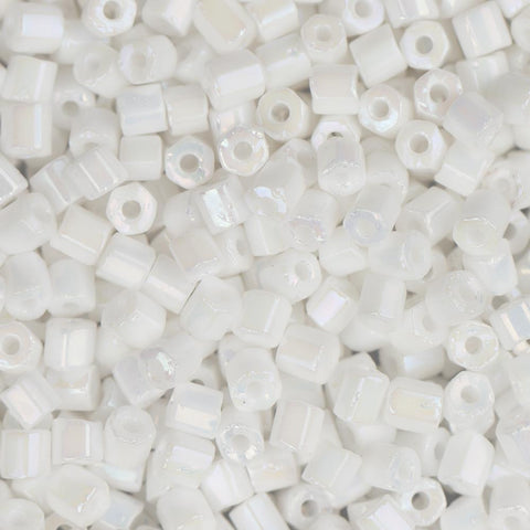 10/0 Czech 2 Cut Seed Beads Opaque White Rainbow 22g - i-Bead,  WHITE