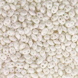 Czech Miniduo Beads 8g Chalk White Luster