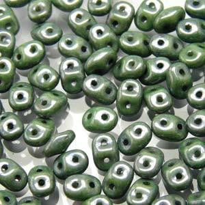 Czech Miniduo Beads 8g Chalk Green Luster