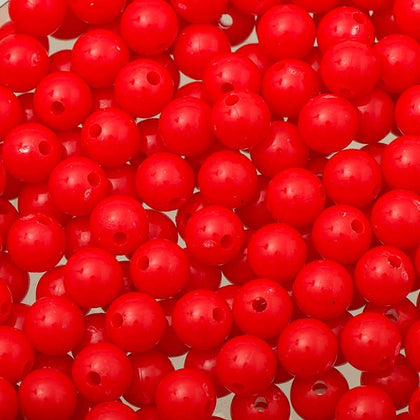 8mm Round Plastic Beads 1000/pk - Fluorescent Red