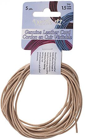 1.5mm Natural Leather Cord 5yd - i-Bead,  NATURAL