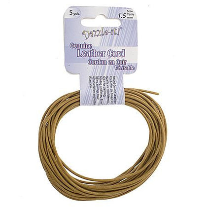 1.5mm Metallic Gold Leather Cord 5yd - i-Bead,  METALLIC GOLD