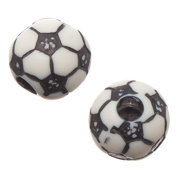 12mm Soccer Ball Plastic Sports Beads 10/pk