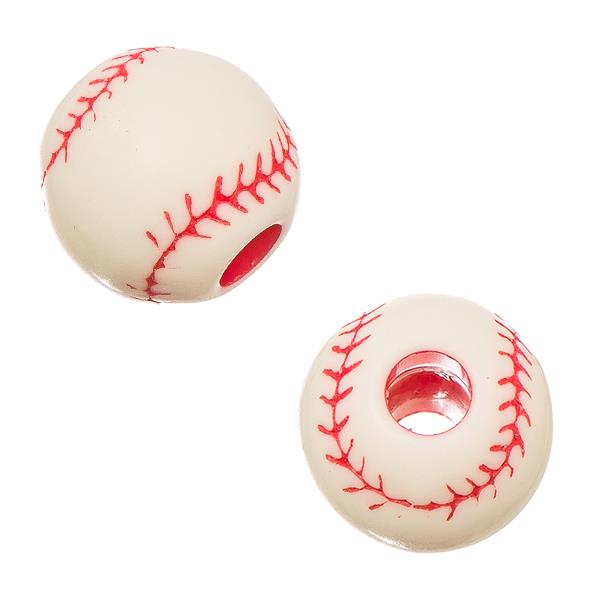 12mm Baseball Plastic Sports Beads 10/pk