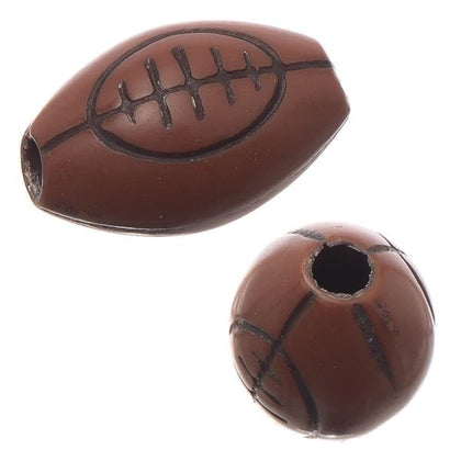12mm Football Plastic Sports Beads 10/pk
