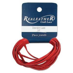 Deerskin Red Leather Lace 2yd
