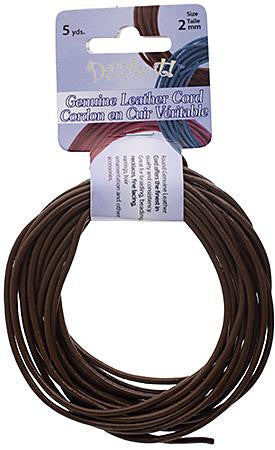 2mm Brown Leather Cord 5yd