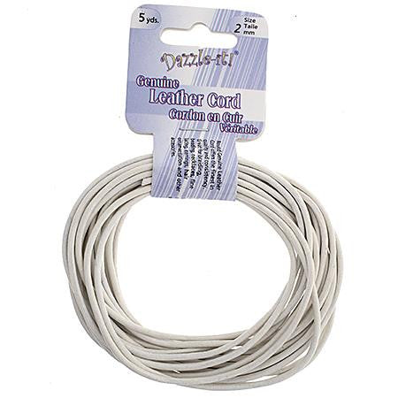 2mm White Leather Cord 5yd