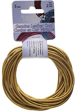 2mm Metallic Gold Leather Cord 5yd