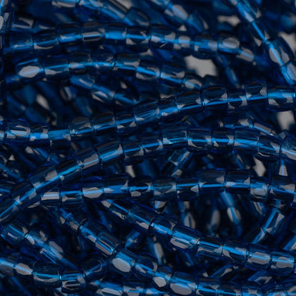10/0 Czech 3 Cut Seed Beads Transparent Capri Blue Hank