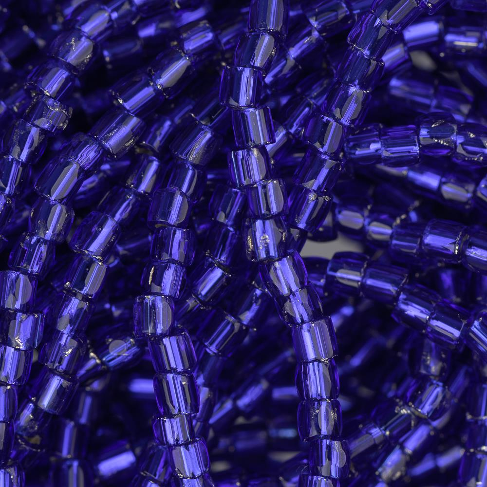 10/0 Czech 3 Cut Seed Beads Silver Lined Royal Blue Hank