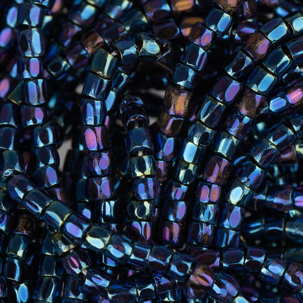 10/0 Czech 3 Cut Seed Beads Metallic Iris Navy Blue Hank