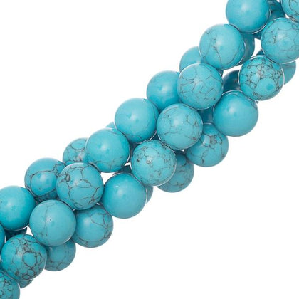 10mm Turquoise Blue (Synthetic/Dyed) Beads 15-16