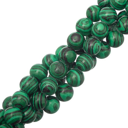 10mm Malachite (Synthetic/Dyed) Beads 15-16
