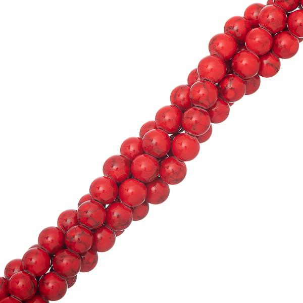 "6mm Turquoise Red (Synthetic/Dyed) Beads 15-16"" Strand"