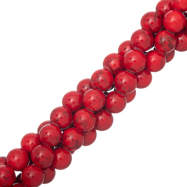 "8mm Turquoise Red (Synthetic/Dyed) Beads 15-16"" Strand"