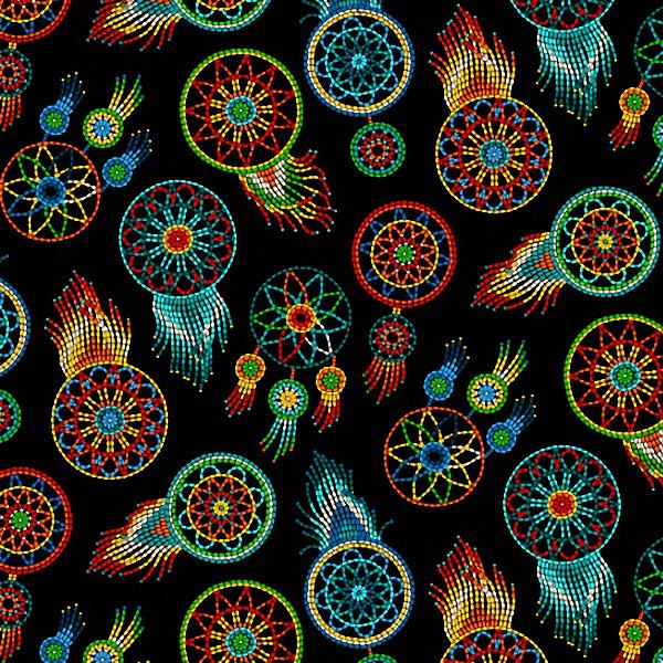 Beaded Dream Catcher Black 100% Cotton - Price Per Yard