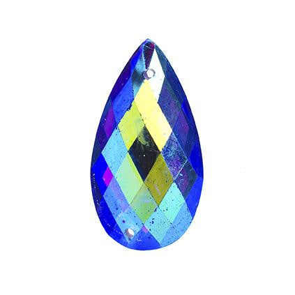 Royal Blue AB 16x30mm Tear Drop Sew On Stone 10/pk