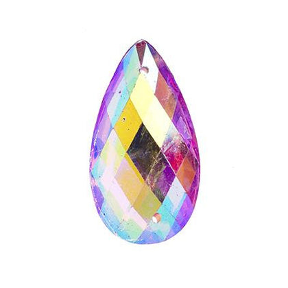 Pink AB 16x30mm Tear Drop Sew On Stone 10/pk