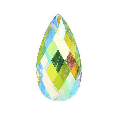 Lime Green AB 16x30mm Tear Drop Sew On Stone 10/pk