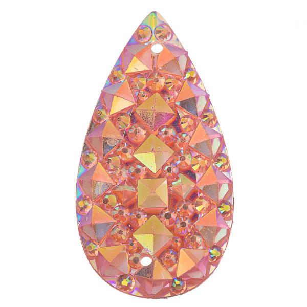 Pink AB 16x30mm Tear Drop Sew On Stone #9056-06 10/pk