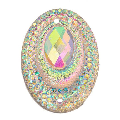 Crystal AB 18x25mm Oval Sew-On Stone 10/pk