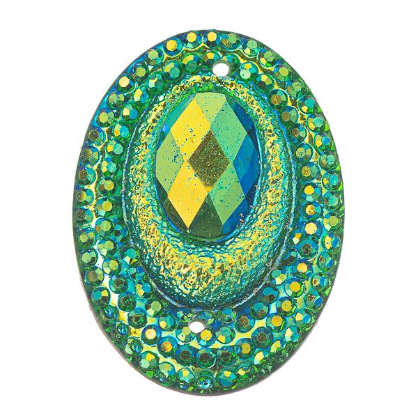 Lime AB 18x25mm Oval Sew-On Stone #9107-09 10/pk