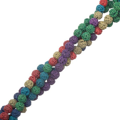 4mm Volcanic Lava Mix Gemstone Beads